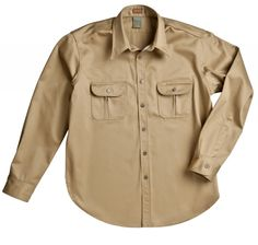 "Dickies 1922 Collection ""Uniform Shirt"" -- Long Sleeve Khaki, Made in USA"