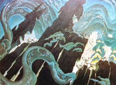 Fantasia's Night on Bald Mountain concept art by Kay Nielsen (1886-1957).