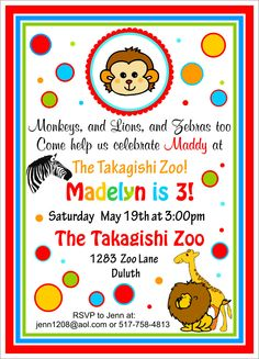 Cute Zoo Birthday Invitations,