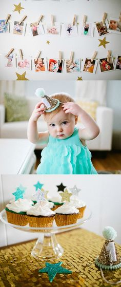 "Project Nursery will inspire you with this dazzling baby's first birthday party in a ""Twinkle, Twinkle"" theme! These decor, dessert, and photograph ideas are perfect for letting your little star shine on her big day."