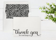 Thank You For Marrying Us Notecard - Shimmer Cardstock - Color and Envelope Liner Options - Wedding Day Cards - A2 Size