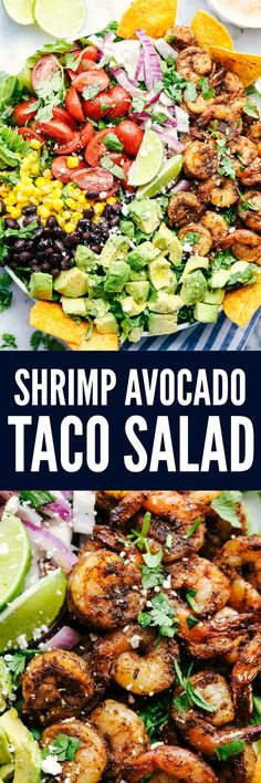 Shrimp Avocado Taco Salad is full of fresh avocados, tomatoes, red onions, black beans and corn. The shrimp cook inn a blend of delicious taco seasonings. Serve it with some tortilla chips and this salad is unforgettable! Seafood Recipes, Mexican Food Recipes, Cooking Recipes, Cooking Ideas, Dessert Recipes, Avocado Recipes, Healthy Recipes, Healthy Salads, Keto Avocado