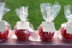 For a classic fall fair feel, opt for classic candy apples -- a timeless favourite! As seen in this real wedding . Candy Apple Favors, Apple Wedding Favors, Vintage Wedding Favors, Candy Apples, Fall Wedding Bridesmaids, Our Wedding, Wedding Ideas, Wedding Bells, Wedding Stuff