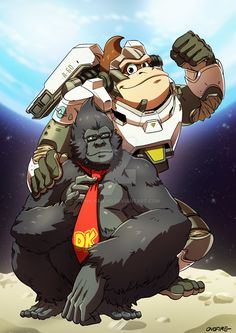 I've started a serie of Overwatch mash-ups with other characters that looks like them. I hope continue this serie, I think that it could . OW - Winston and Donkey Kong Super Smash Bros, Super Mario Bros, Game Character, Character Concept, Overwatch Winston, Overwatch Fan Art, Overwatch Genji, Nintendo, Cartoon Video Games