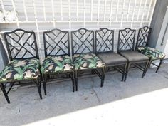 6 CENTURY BLACK LACQUER HOLLYWOOD REGENCY FAUX BAMBOO CHINESE CHIPPENDALE CHAIRS