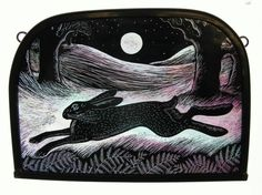"""""""Moonlit Hare"""" by stained glass artist Tamsin Abbott Stained Glass Paint, Stained Glass Panels, Hare Illustration, Illustrations, Pagan Art, Rug Hooking Patterns, Rabbit Art, Sgraffito, Through The Looking Glass"""