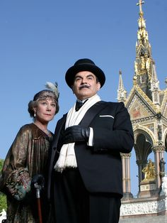 """Ariadne Oliver and Hercule Poirot - Zoë Wanamaker and David Suchet in Agatha Christie's Poirot Season 10 """"Cards on the Table"""", set between 1935 and 1939."""
