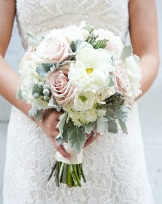 Designer: Olive Lane Floral  Flowers: Hydrangea | Ranunculus | Rose  Other: Lamb's Ear | Snowberries  Colors: Pink | White    Photographer: NovaMarkina Photography