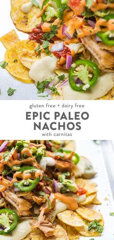 Epic Paleo Nachos with Carnitas (Dairy-Free, Gluten-Free, Vegan Option) - These paleo nachos are epic, aka the best paleo nachos ever. What makes paleo nachos epic, you ask? Best Paleo Recipes, Whole Food Recipes, Diet Recipes, Egg Recipes, Sauce Recipes, Recipies, Paleo Menu, Paleo Dinner, Paleo Vegan