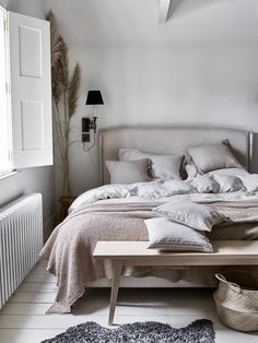 Relax and rejuvenate with our natural stripe linen bedding, featuring peaceful colour and soft texture. Large Pillow Cases, Large Pillows, Bed Pillows, Fluffy Pillows, Super King Duvet Covers, Interiors Magazine, Bed In A Bag, Guest Bedrooms, Guest Room