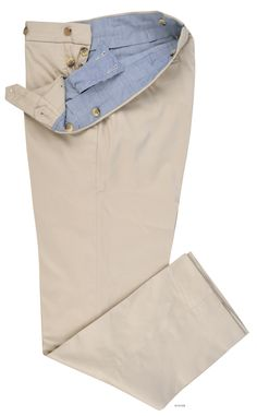 Luxire Stone Soft Plain Chinos: http://custom.luxire.com/products/stone_soft_plain_chinos  Consists of standard extended closure with side metal adjusters and button fly.