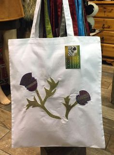 Scottish Thistle, Scottish Tartans, Handmade Shop, Etsy Handmade, Handmade Gifts, Scottish Gifts, White Tote Bag, Reusable Bags, Natural Leather