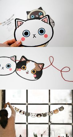 Insanely cute on the front and even cuter from the back! Decorate your place with this adorable kitty garland. get some yourself some pawtastic adorable cat apparel! Diy Kawaii, Kawaii Crafts, Cat Crafts, Diy And Crafts, Crafts For Kids, Paper Crafts, Diy Girlande, Gata Marie, Cat Birthday