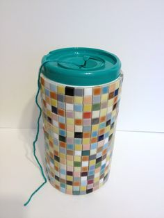 Yarn container made from Clorox wipes container and ceramic mosaic tiles