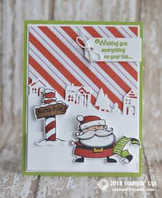 CARD Super stinkin' cute Santa Christmas card from the Stampin Up Sings of Santa… – Christmas DIY Holiday Cards Stampin Up Christmas 2018, Christmas Cards 2018, Santa Christmas, Xmas Cards, Homemade Christmas, Santa Stamp, Stampin Up Weihnachten, Diy Holiday Cards, Winter Karten