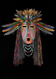 Rainbow Weaver mask by Black Eagle kp Paper Mache Mask, Paper Mask, Arte Tribal, Tribal Art, Native American Masks, Afrique Art, Ceramic Mask, Atelier D Art, African Sculptures