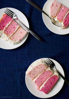 Pink Ombré Vanilla Cake.