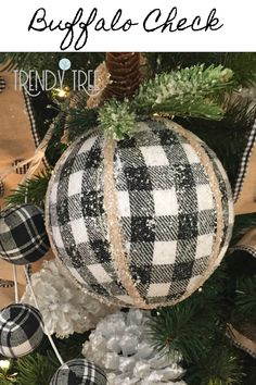 Black and white checks and plaid! All very popular for 2019 decorating themes. S Black and white checks and plaid! All very popular for 2019 decorating themes. See more Buffalo check decorations at Trendy Tree. Diy Christmas Ornaments, Xmas Crafts, Christmas Holidays, Christmas Wreaths, Christmas Ideas, Christmas Inspiration, Diy Christmas Projects, White Christmas, Handmade Christmas