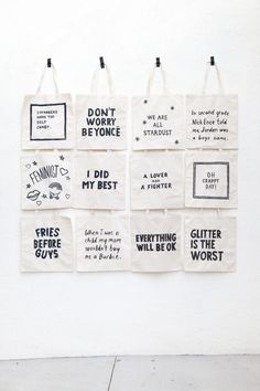 Give out tote bags with attitude. wedding favor ideas. Love quotes for your wedding decorations