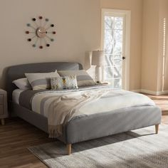 Top Product Reviews for Mid-Century Fabric Upholstered Platform Bed by Baxton Studio - Overstock.com