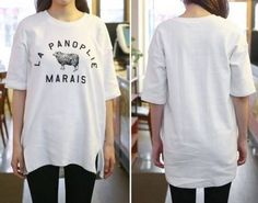 cool  Sweet hoggerel letters printing loose hem slit T-shirt -