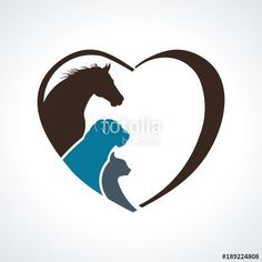 Horse,Dog and Cat Together - Buy this stock vector and explore similar vectors at Adobe Stock Pet Puppy, Dog Cat, Horse Logo, Dog Logo, Animal Logo, Painted Rocks, Kitten, Horses, Puppies