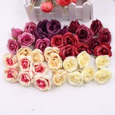 10pcs 4cm Silk Rose Artificial Flower Wedding Home Furnishings DIY Wreath Sheets Handicrafts Simulation Cheap Fake Flowers  Price: 1.01 USD