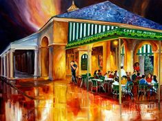 Midnight At The Cafe Du Monde Painting