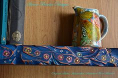 Rustic Reclaimed Wood 3ft Shelf Denim Blue & Copper Edging with Flower Design