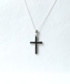 Black Silver Cross necklace, Sterling Silver cross pendant, large solid silver cross, handmade silver jewelry, gothic cross, religious charm