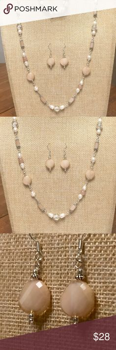 """Freshwater Pearl MOP Glass Chain Bracelet Earrings Ivory, white, beige, ecru, winter white, cream, opal, & Mother-of-Pearl, natural freshwater Pearl, faceted beige fancy Czech glass discs, Antiqued crystals, satin seed beads......all of that,  """"wired and connected, rosary style"""" into one long 30-inch necklace!  Comes with an 8 inch adjustable bracelet and matching earrings!  Gorgeous! JK Designs Jewelry"""