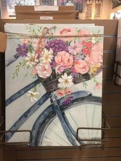 Flower Canvas, Flower Art, Art Floral, Bicycle Painting, Bicycle Art, Cuadros Diy, Learn To Paint, Acrylic Art, Diy Painting