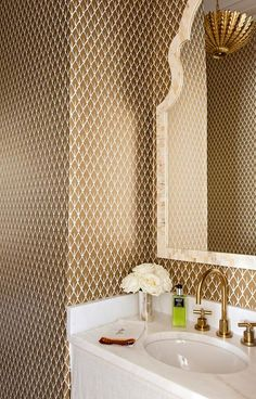 Brown and gold powder room