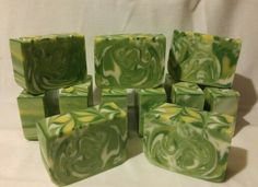 Freshly sliced ginger lime soap. Used basic recipe of olive oil, coconut oil, and lard. BB fizzy lemonade, BB green chrome, titanium dioxide, and a blend of those three for the colors.