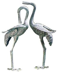 Achla Preening Crane Pair - Works as you would expect.Features & HighlightsVerdigris finishCast aluminumSee other available stylesThese large cranes measure