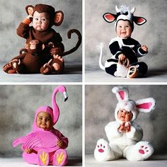 These animals dressed as babies.
