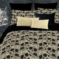 Wayfair: Veratex Flower Skulls Comforter Set in Black & Tan; Includes comforter, two pillow cases & bed skirt ($40.85)