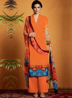 Orange Embroidery Work Cotton Satin Designer Print Pakistani Palazzo Suit http://www.angelnx.com/Salwar-Kameez/Pakistani-Suits