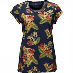 Paradise Womans t-shirt by Jack Wolfskin. Add a splash of colour to your summer wardrobe with the Paradise t-shirt from Jack Wolfskin T Shirts, Tees, Summer Wardrobe, Color Splash, Organic Cotton, Floral Design, Paradise, High Neck Dress, Short Sleeve Dresses