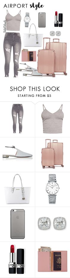 """Airport Style"" by nalediselemela ❤ liked on Polyvore featuring BasicGrey, Barneys New York, CalPak, MICHAEL Michael Kors, Longines, Native Union, Frederic Sage, Christian Dior, Royce Leather and travel"