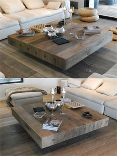 BONHEUR Wooden Handmade Square Coffee Table By Didier Cabuy