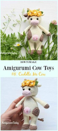 Crochet Cuddle Me Cow Amigurumi Free Pattern- #Amigurumi #Cow Toy Plushies Free Crochet Patterns