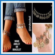 Boho Anklet Silver Tone Anklet❤️ Coins ❤️ Boho ❤️ Silver tone❤️ Available 3 Silver Anklets❤️ Jewelry