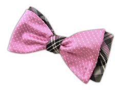 Pindot/Zenith - Pink/Gray (Reversible Bow Ties)