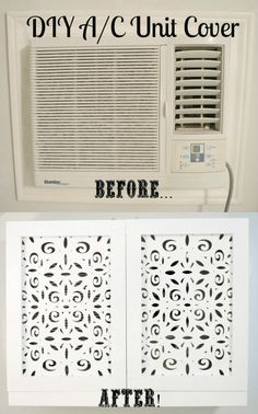 Wall AC unit cover before & after. Air Conditioner Cover Indoor, Diy Air Conditioner, Ac Unit Cover, Diy Ac, Home Projects, Diy Home Decor, Home Improvement, Ikea, The Unit