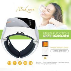 Wireless Remote Control Neck Therapy Massager Impulse Far Infrared Heating Heated Vibrating Instrument