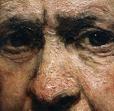 detail, Rembrandt. The tactile manipulation of paint may hearken to medieval procedures, when mimetic effects of rendering informed a painting's surface. The end result is a richly varied handling of paint, deeply layered and often apparently haphazard, which suggests form and space in both an illusory and highly individual manner.