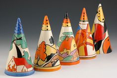 Clarice Cliff Art Deco sugar shakers