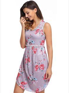 Women's #pink sleeveless mini #dress high waist flower pattern print design, lace trim, casual, leisure, summer Occasions.