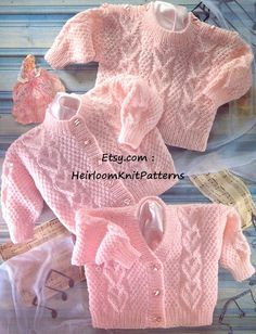 540) Adorable Baby/ Toddler Boy or Girl's Sweater & Cardigans, Heart motif, Vintage DK/ 8ply KNITTING PATTERN, Instant download
